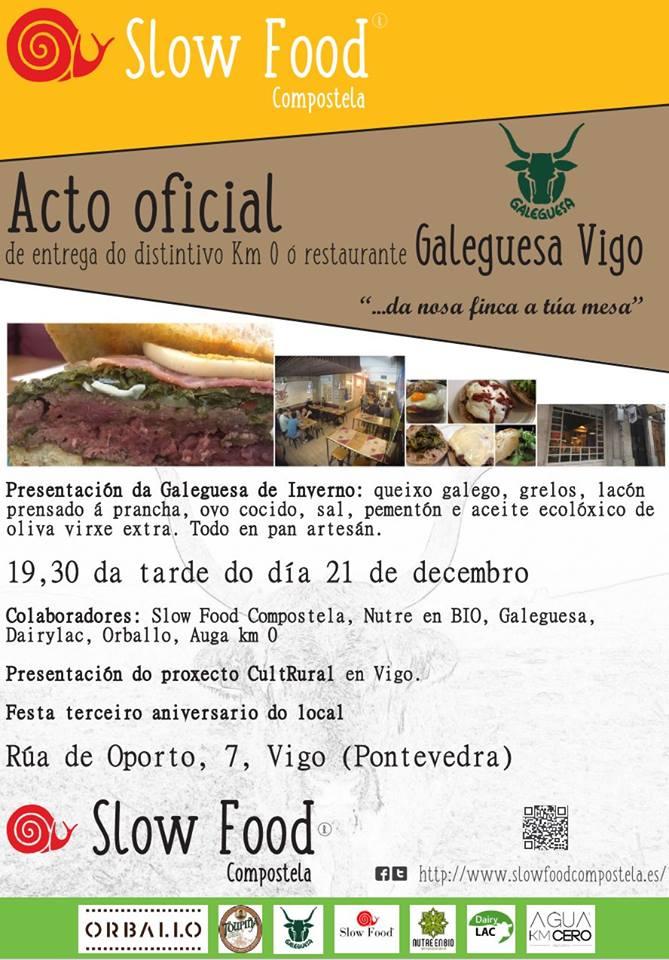 """Galeguesa Vigo recibe la distinción """"Slow Food"""" en su tercer aniversario"""